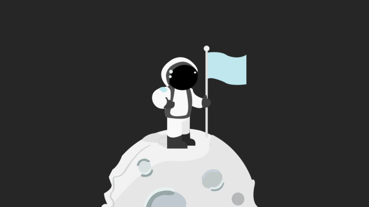 Astronaut in spacesuit standing on moon with flag