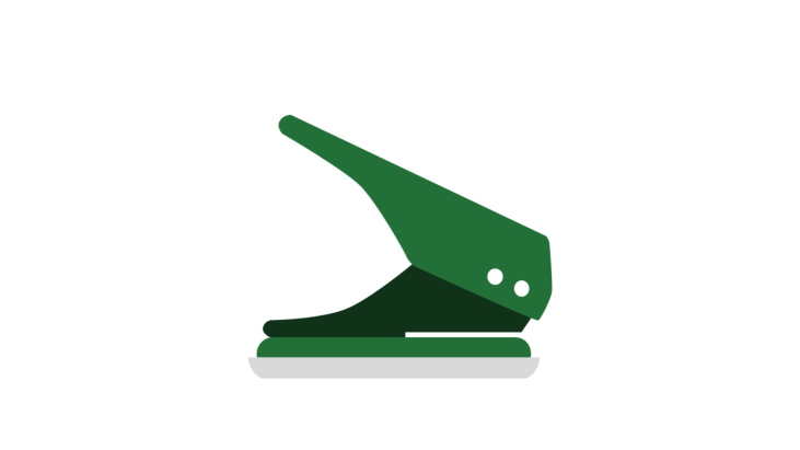 Green two-hole puncher as office equipment