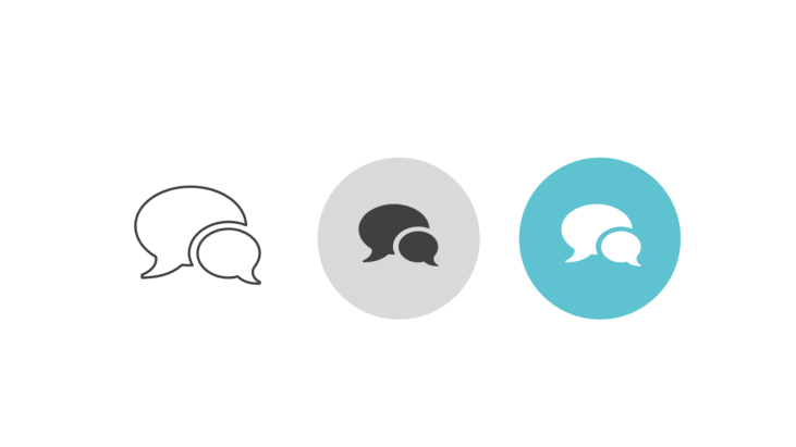 Triple icon pack - two overlapping speech bubbles