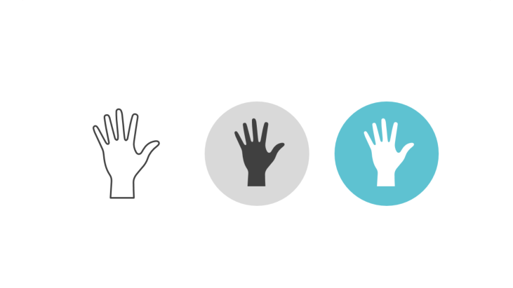 Triple icon pack - upheld hand with five fingers
