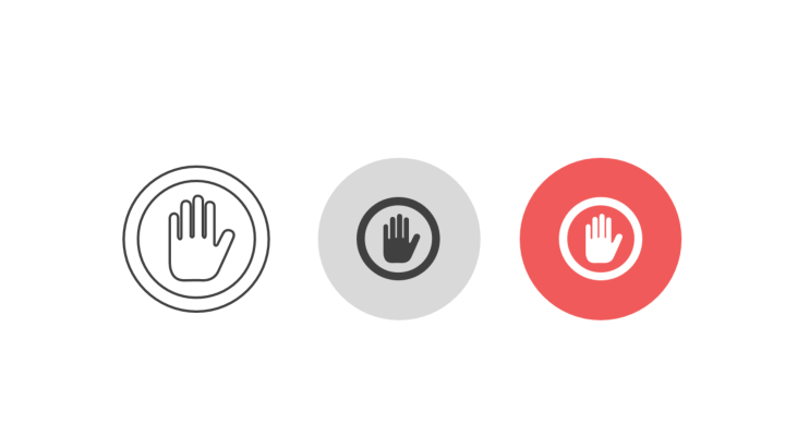 Triple icon pack - stop sign hand in circle
