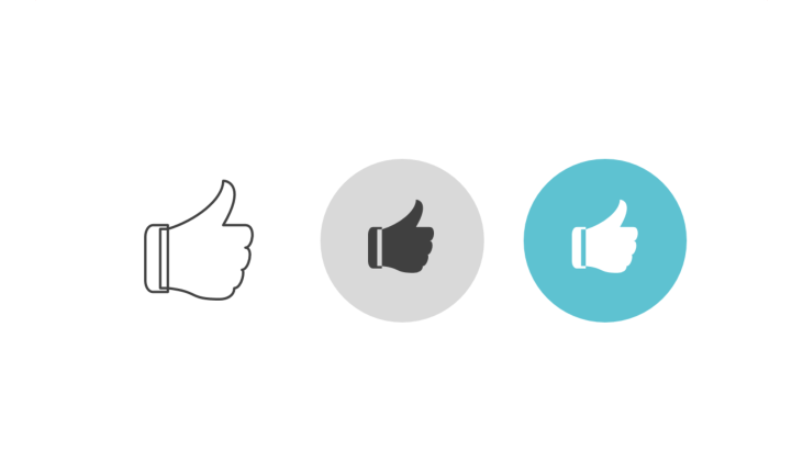 Triple icon pack - hand giving thumbs-up