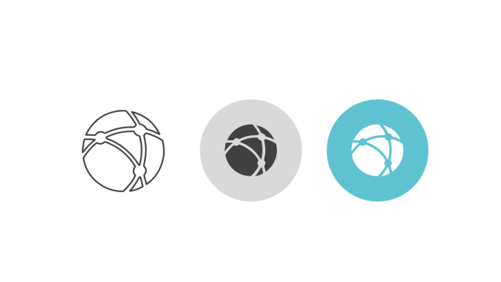 Triple icon pack - globe with network and nodes