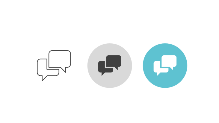 Triple icon pack - two angular speech bubbles