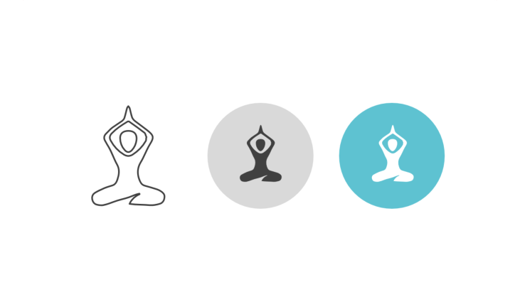 Triple icon pack - person doing yoga, lotus position