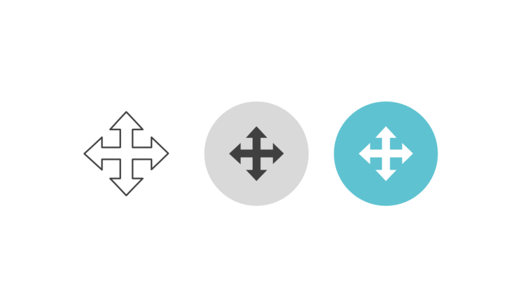 Triple icon pack - arrows spreading in four directions