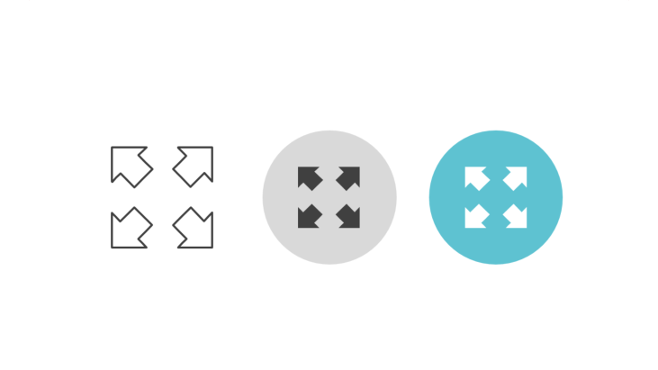 Triple icon pack - expand symbol, short wide arrows - expand