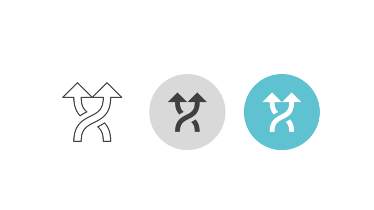 Triple icon pack - two vertical intersecting arrows