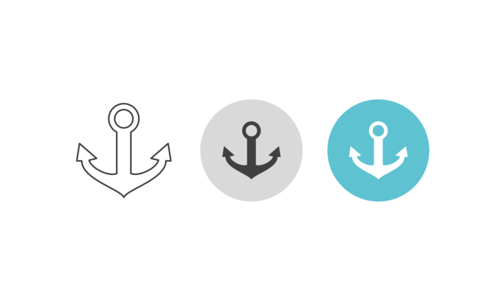 Triple icon pack - ship's anchor