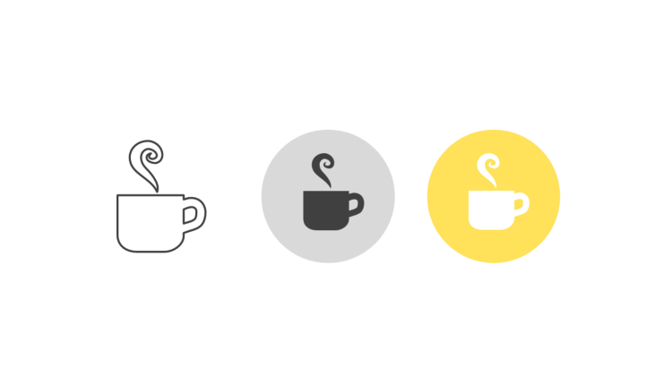 Triple icon pack - steaming coffee cup