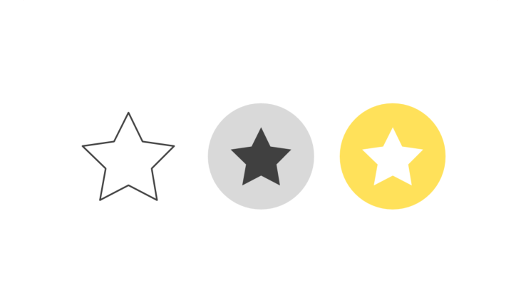 Triple icon pack - five-pointed star