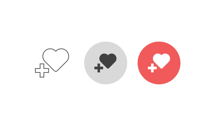 Triple icon pack - heart with additional plus