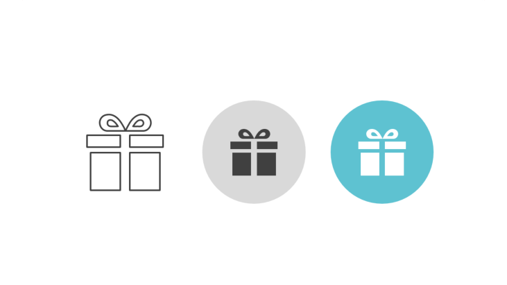 Triple icon pack - gift box with ribbon