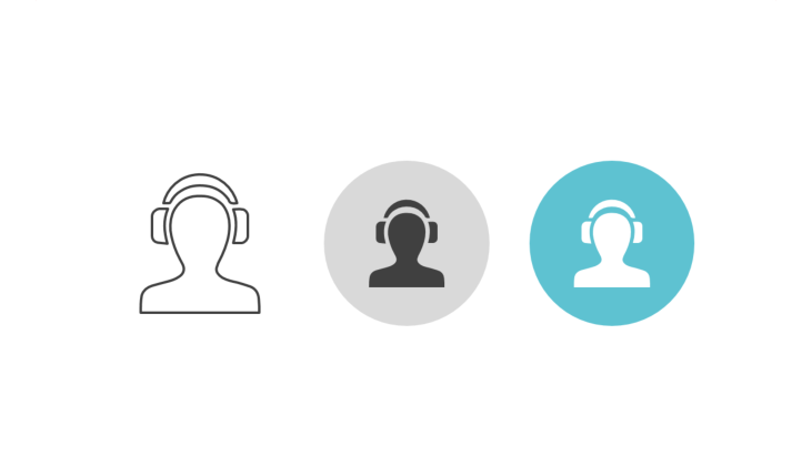 Triple icon pack - person with over-ear headphones