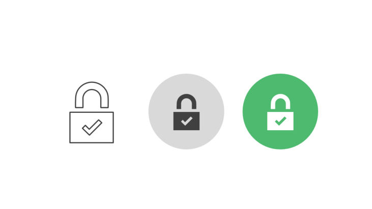 Triple icon pack - padlock with check mark