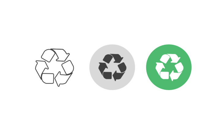 Triple icon pack - recycling symbol three curved arrows