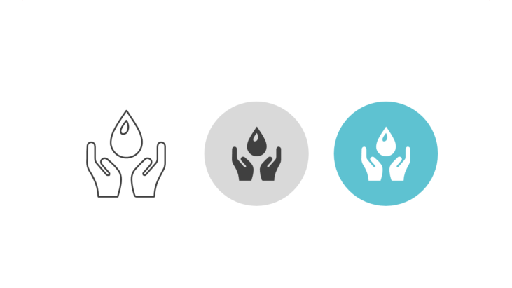 Triple icon pack - two hands holding water drop