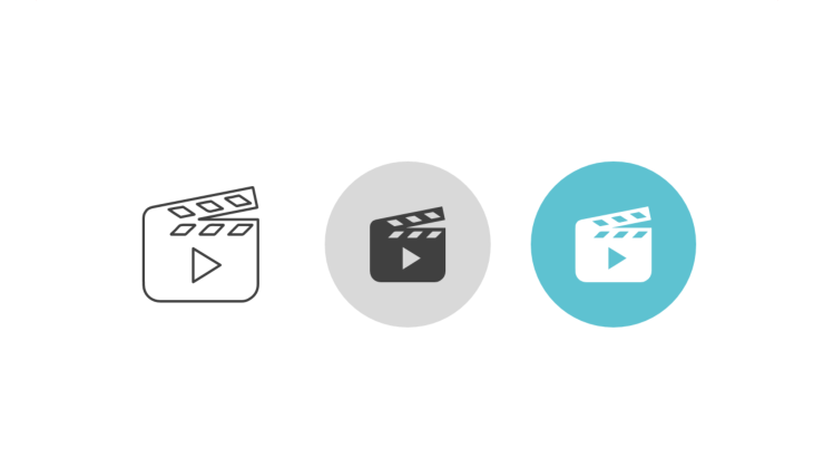 Triple icon pack - movie clapperboard with play symbol