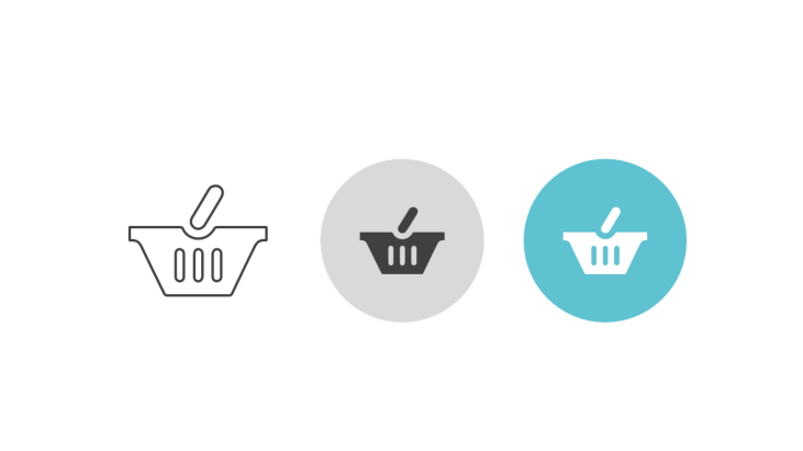 Triple icon pack - shopping basket