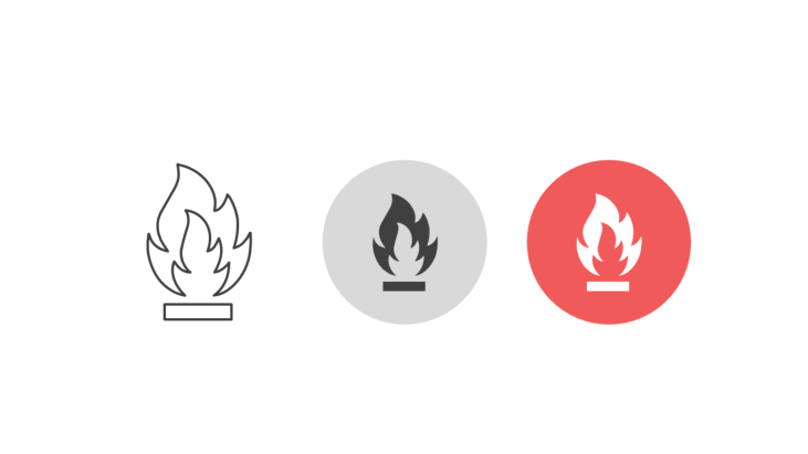 Triple icon pack - flammable materials symbol open fire