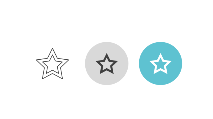 Triple icon pack - five-pointed star with edging