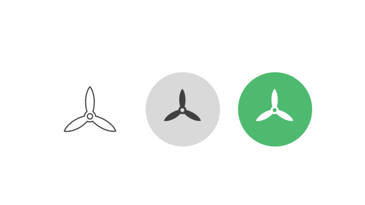 Triple icon pack - three-wing propeller