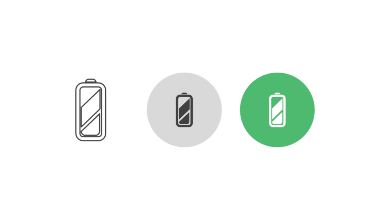 Triple icon pack - rechargeable battery symbol