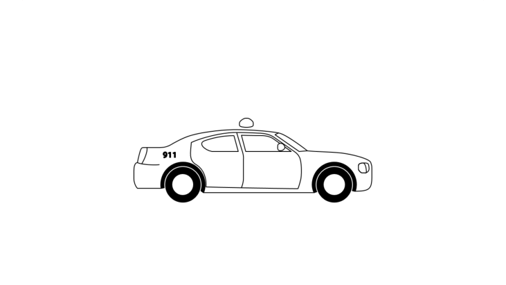 Pictogram drawing of a police vehicle