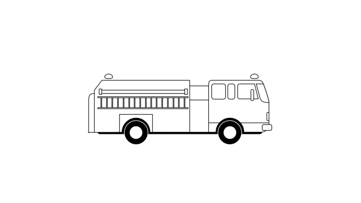 Pictogram drawing of a fire engine vehicle
