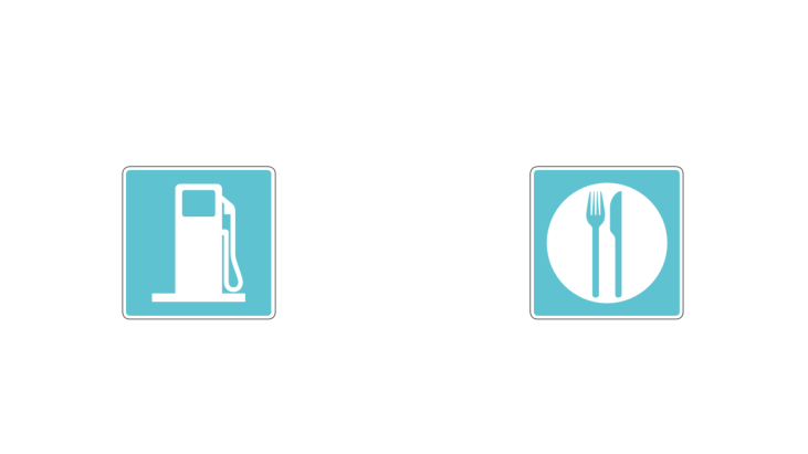 Two road signs with fuel pump and cutlery