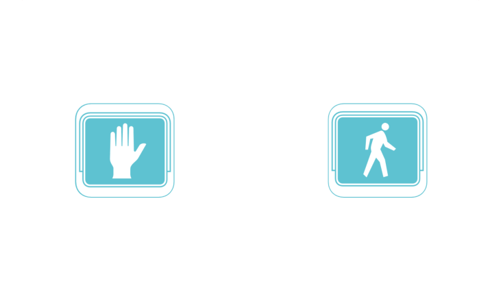 Two road signs with hand and walking person