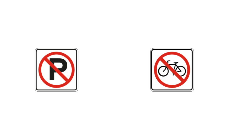 Two road signs prohibiting parking and bicycling