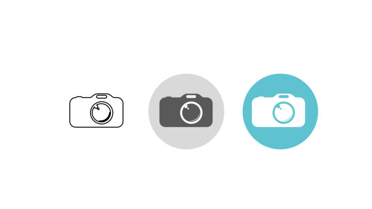 Triple icon pack - camera with reflection in lens