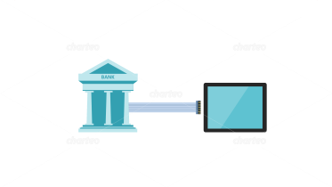 Bank building connected to tablet PC