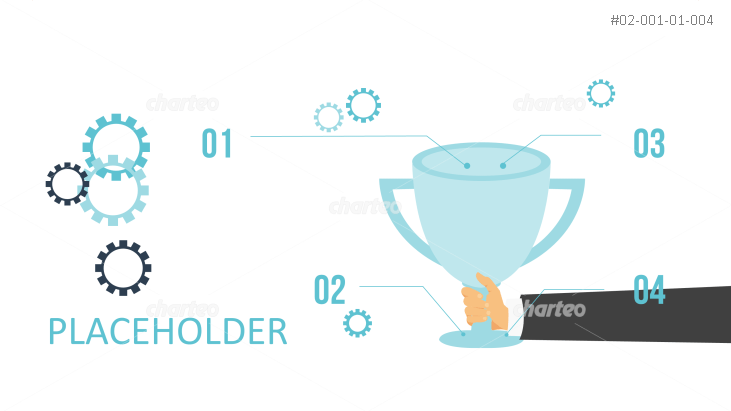 Hand holding trophy with cogwheels and numbers