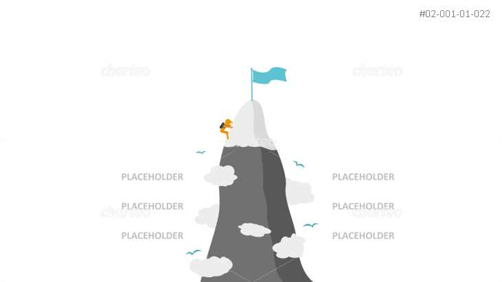 Infographic of climber cresting mountain peak with flag