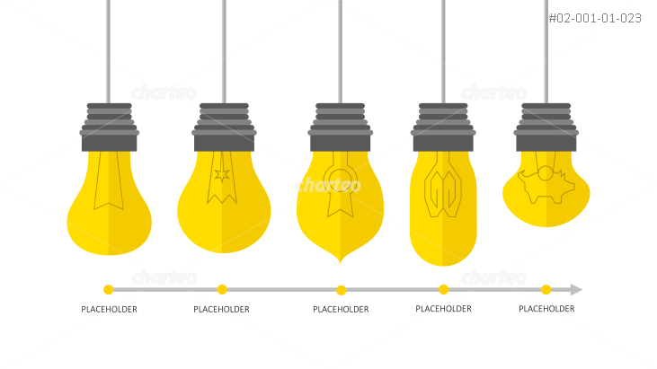 Timeline with differently shaped light bulbs and placeholders