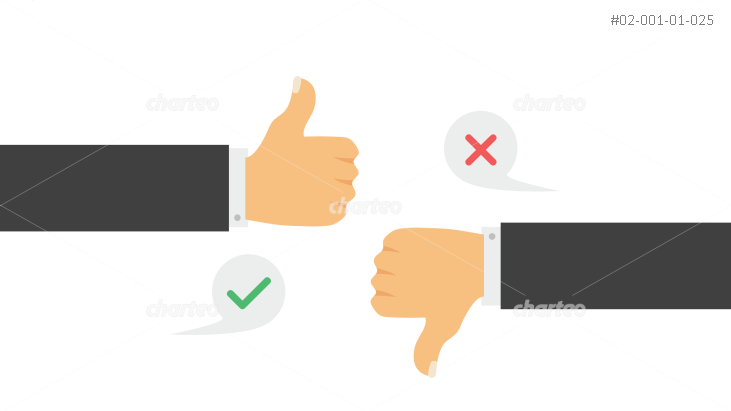 Two hands giving thumbs up and thumbs down