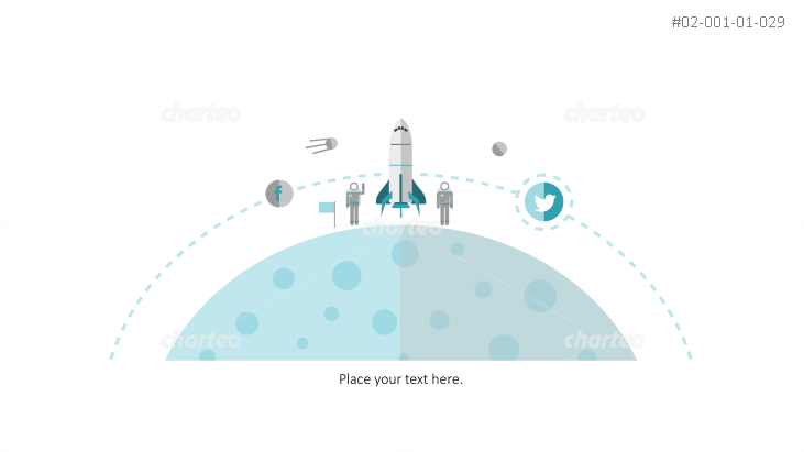 Astronauts and space shuttle standing on moon with orbit