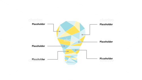 Lightbulb with facets and placeholders as infographic
