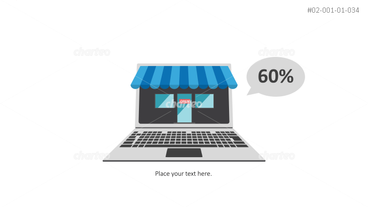 Open laptop as small online shop with awning