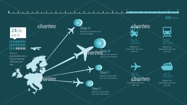 Travel infographic with distance and destination graphics