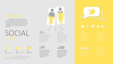 Social media infographic with male and female pictograms