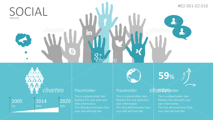 Process infographic elements for social media