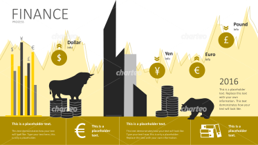 Financial infographic with graph as background