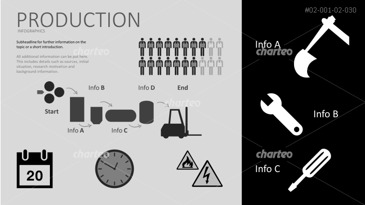 Production infographic with assorted icons on dark background