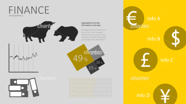 Currency icons and various objects for financial infographic