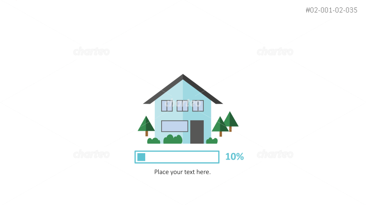 House with progress bar as energy efficiency infographic