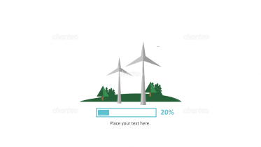 Wind turbines with progress bar as energy efficiency infographic