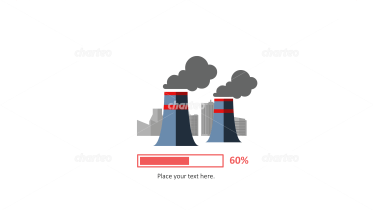 Power station with progress bar as energy efficiency infographic